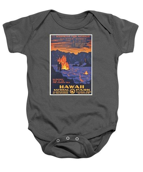 Hawaii Vintage Travel Poster Baby Onesie by Georgia Fowler