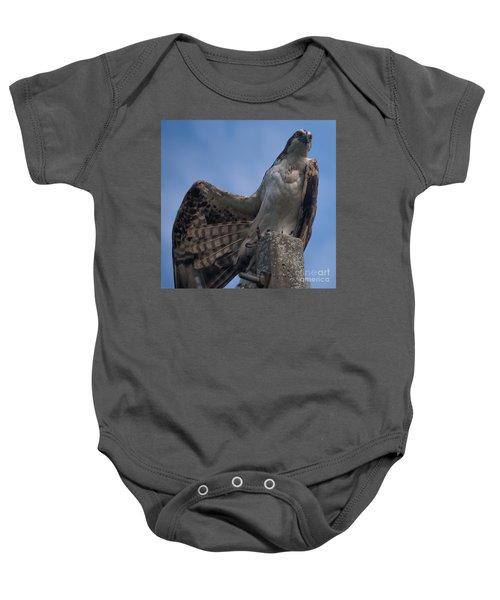 Hawk Stretching Baby Onesie