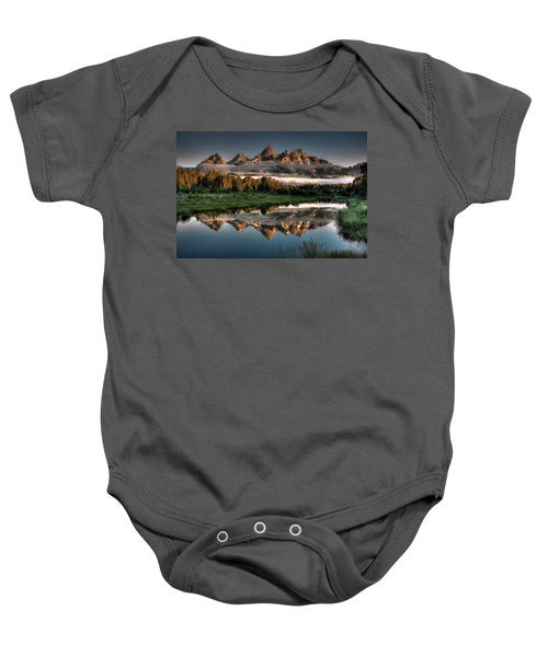 Hazy Reflections At Scwabacher Landing Baby Onesie by Ryan Smith