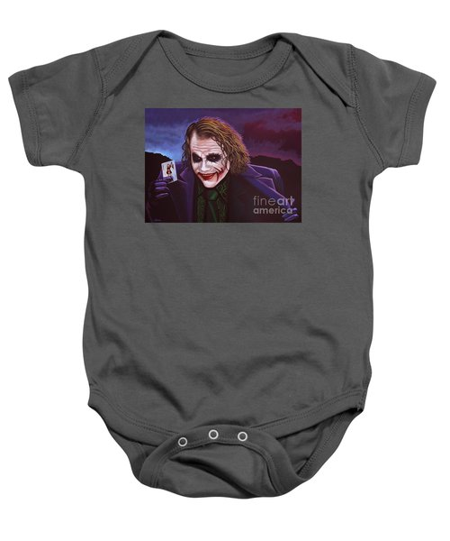 Heath Ledger As The Joker Painting Baby Onesie by Paul Meijering