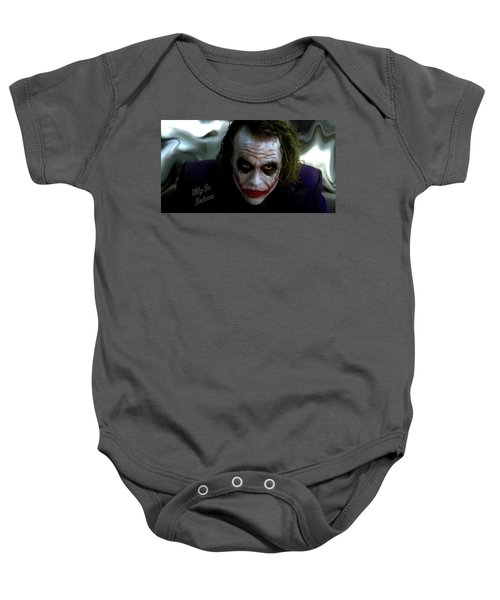 Baby Onesie featuring the photograph Heath Ledger Joker Why So Serious by David Dehner