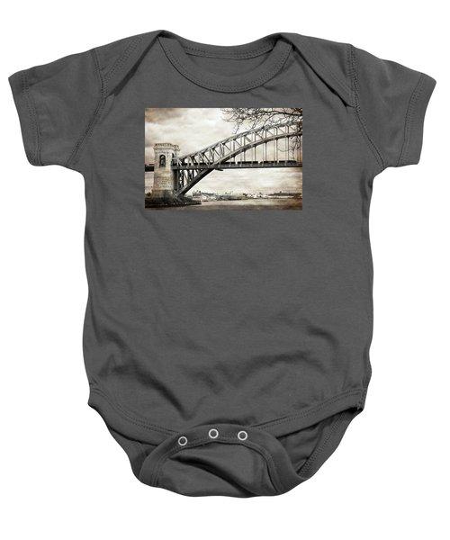 Hellgate Bridge In Sepia Baby Onesie