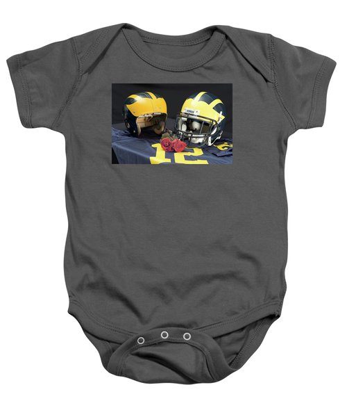 Helmets Of Different Eras With Jersey And Roses Baby Onesie