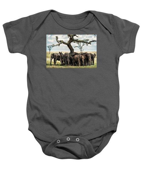 Herd Of Elephants Under A Tree In Serengeti Baby Onesie