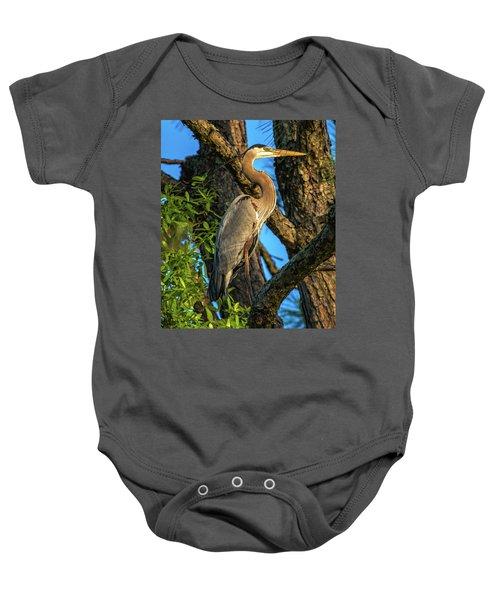 Heron In The Pine Tree Baby Onesie