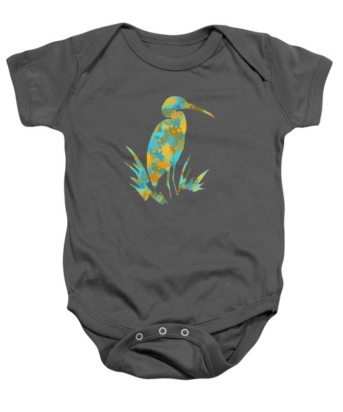 Heron Watercolor Art Baby Onesie