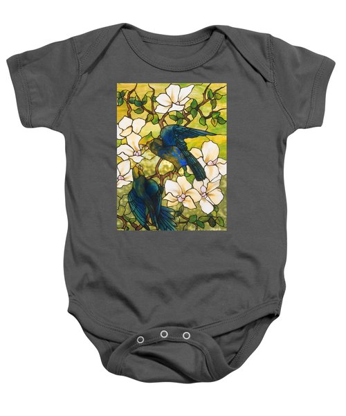 Hibiscus And Parrots Baby Onesie by Louis Comfort Tiffany