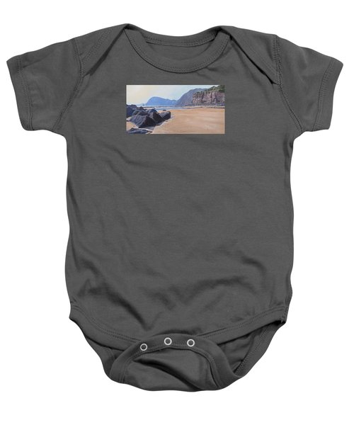 Baby Onesie featuring the painting High Peak Cliff Sidmouth by Lawrence Dyer