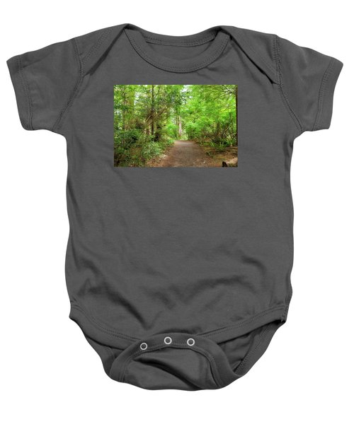 Hiking Trail Through Forest Along Lewis And Clark River Baby Onesie