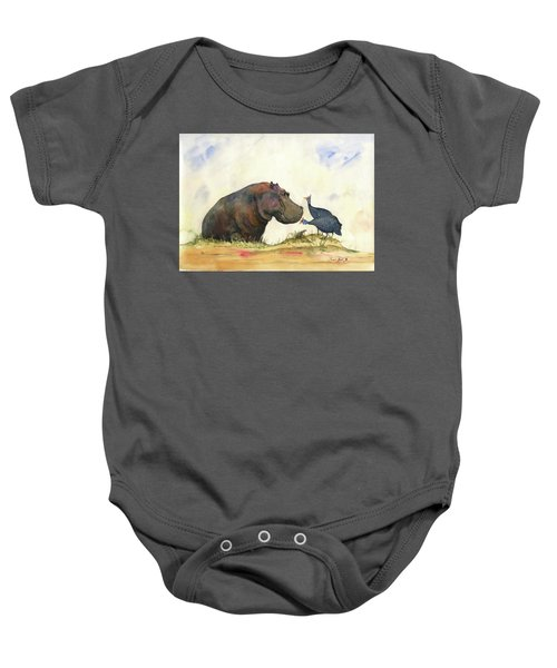Hippo With Guinea Fowls Baby Onesie