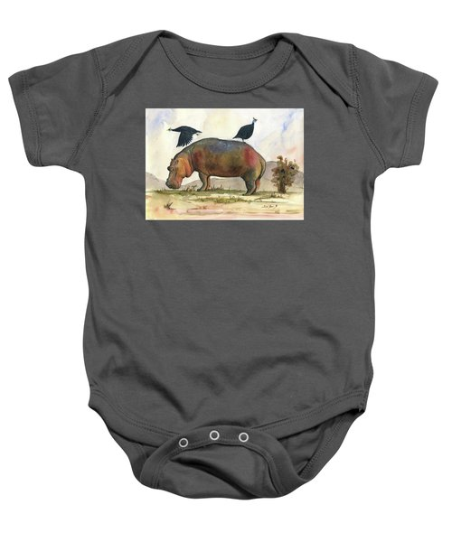 Hippo With Guineafowls Baby Onesie