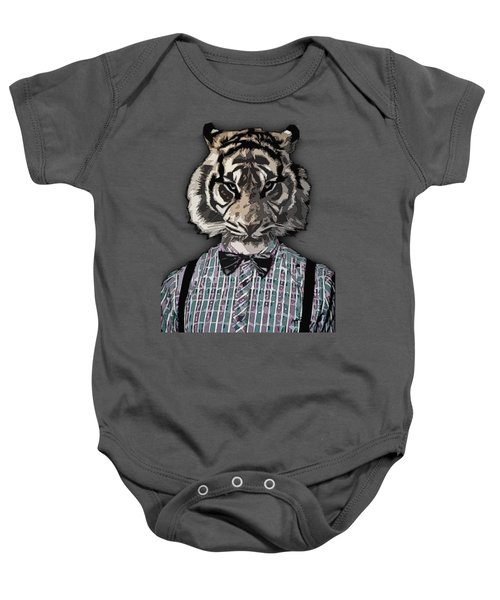 Hipster Tiger  Plaid Shirt Vintage Dictionary Art Beatnik Art Baby Onesie