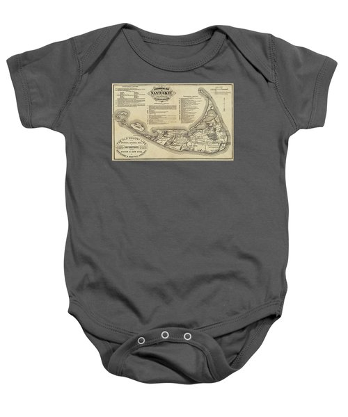 Historical Map Of Nantucket From 1602-1886 Baby Onesie