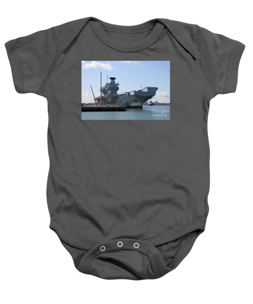 Hms Queen Elizabeth Aircraft Carrier At Portmouth Harbour Baby Onesie