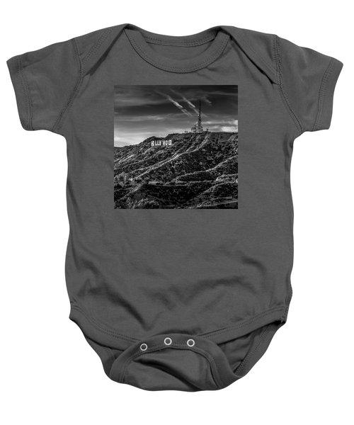 Hollywood Sign - Black And White Baby Onesie