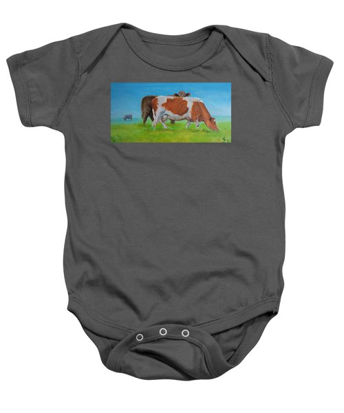Holstein Friesian Cow And Brown Cow Baby Onesie