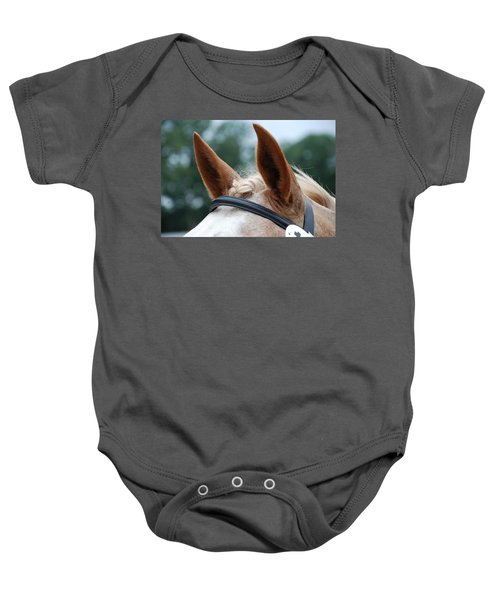 Baby Onesie featuring the photograph Horse At Attention by Jennifer Ancker