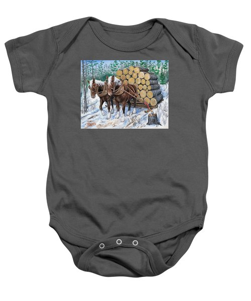 Horse Log Team Baby Onesie