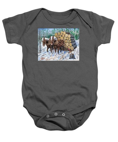 Horse Log Team Baby Onesie