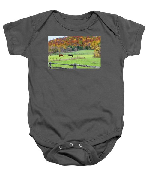 Horses Contentedly Grazing In Fall Pasture Baby Onesie