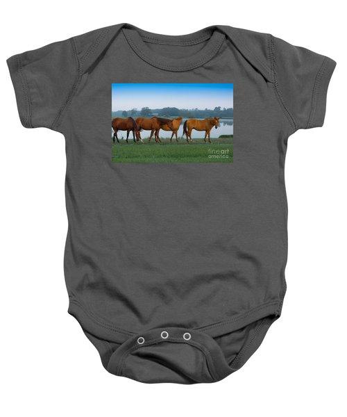 Horses On The Walk Baby Onesie