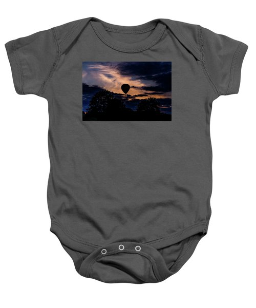 Hot Air Balloon Silhouette At Dusk Baby Onesie