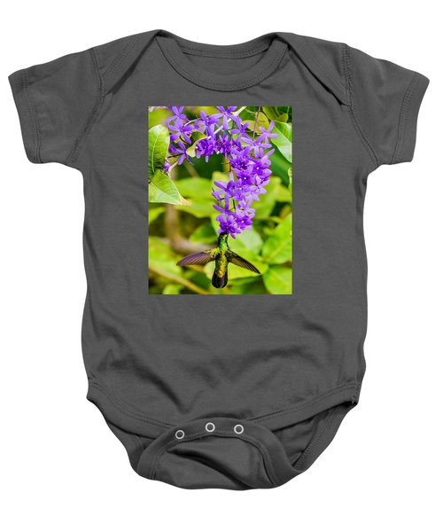 Humming Bird Flowers Baby Onesie