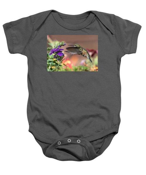 Hummingbird And Purple Flower Baby Onesie