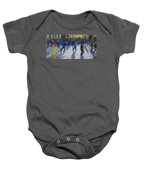 Ice Skaters At Christmas Fayre In Hyde Park  London Baby Onesie by Andrew Macara