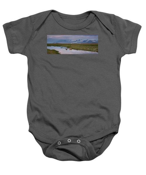 Iceland Sheep Reflections Panorama  Baby Onesie
