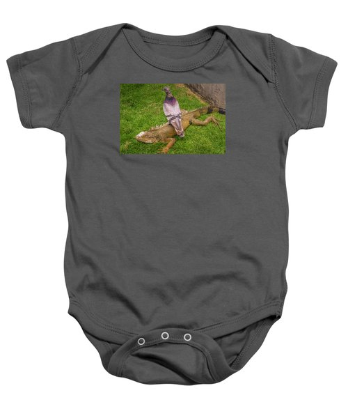 Iguana With Pigeon On Its Back Baby Onesie