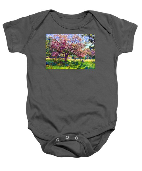 In Love With Spring, Blossom Trees Baby Onesie by Jane Small