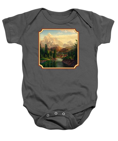 Indian Village Trapper Western Mountain Landscape Oil Painting - Native Americans -square Format Baby Onesie by Walt Curlee