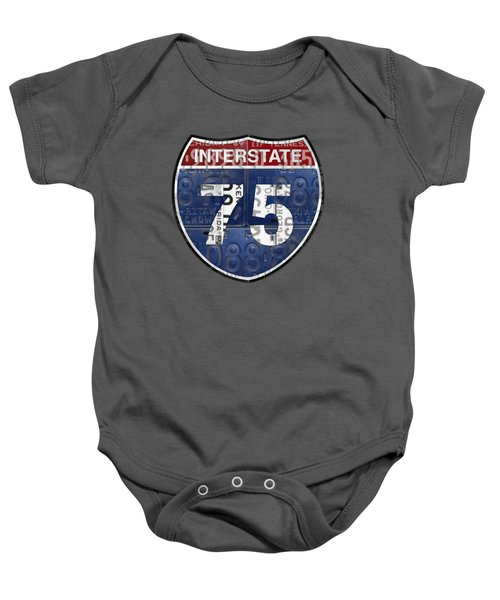Interstate 75 Highway Sign Recycled Vintage License Plate Art On Striped Concrete Baby Onesie