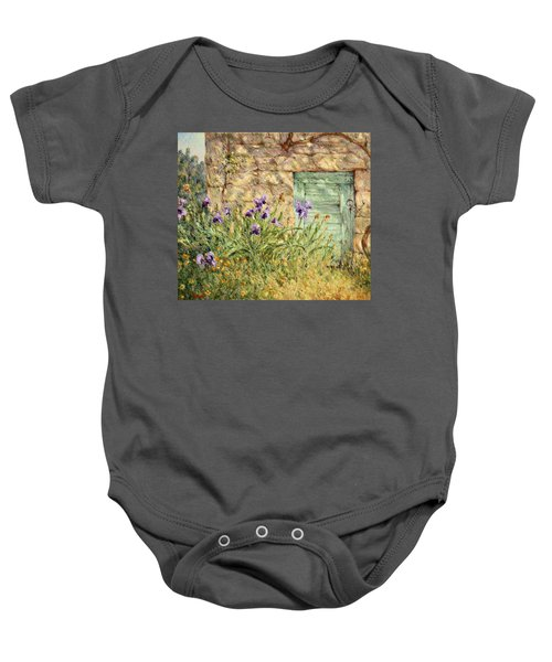 Irises At The Old Barn Baby Onesie