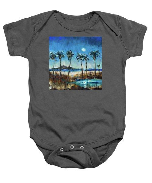 Island Lagoon At Night Baby Onesie