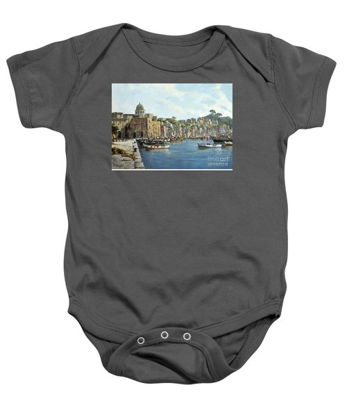 Island Of Procida - Italy- Harbor With Boats Baby Onesie