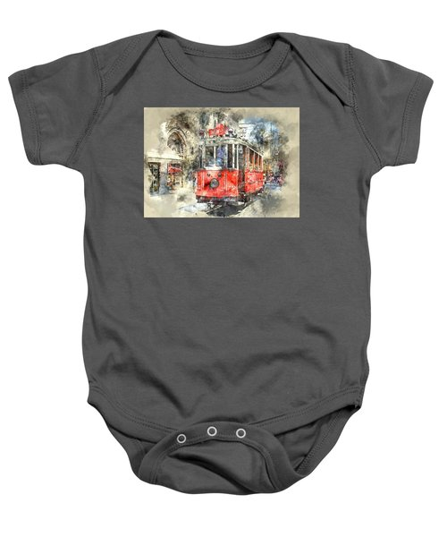 Istanbul Turkey Red Trolley Digital Watercolor On Photograph Baby Onesie