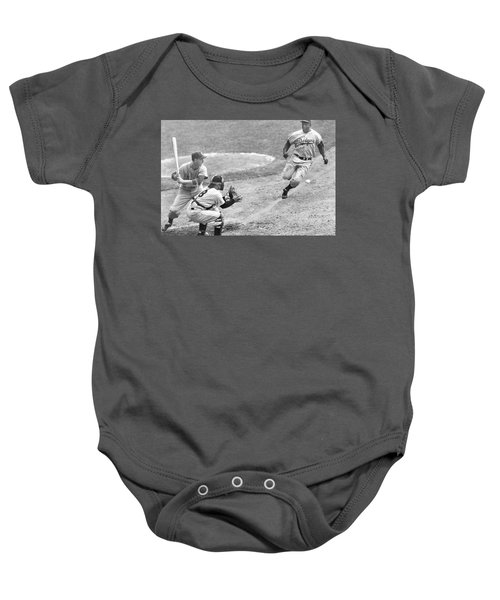 Jackie Robinson Stealing Home Yogi Berra Catcher In 1st Game 1955 World Series Baby Onesie