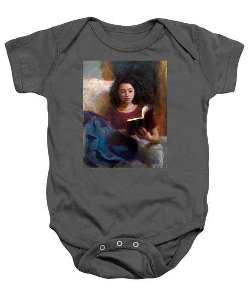 Jaidyn Reading A Book 1 - Portrait Of Young Woman - Girls Who Read - Books In Art Baby Onesie