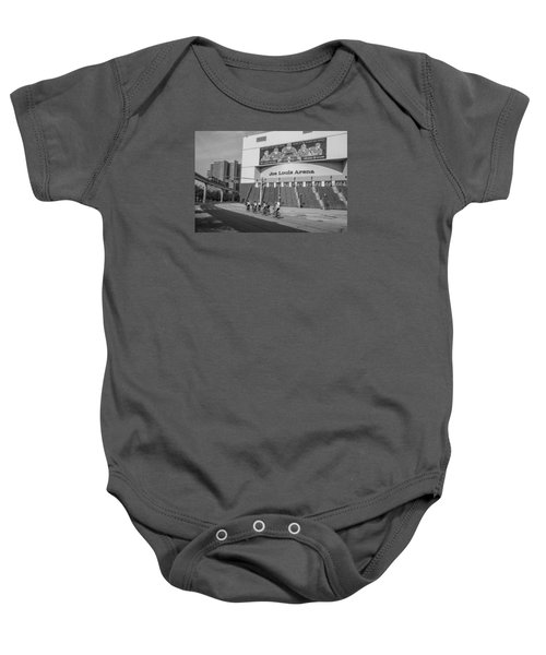 Joe Louis Arena Black And White With Bikers Baby Onesie
