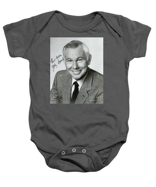 Johnny Carson Autographed Print Baby Onesie