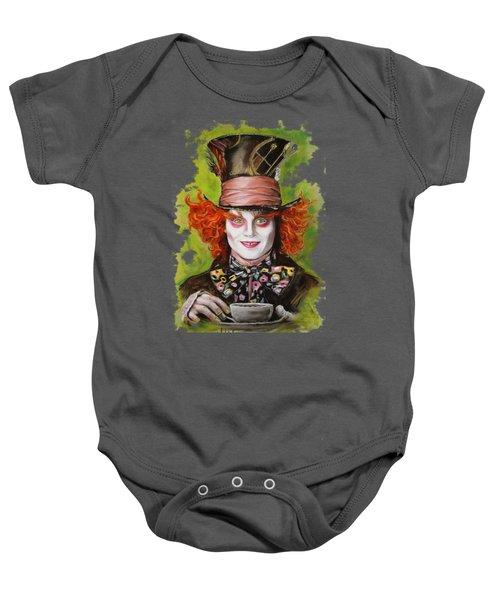 Johnny Depp As Mad Hatter Baby Onesie by Melanie D
