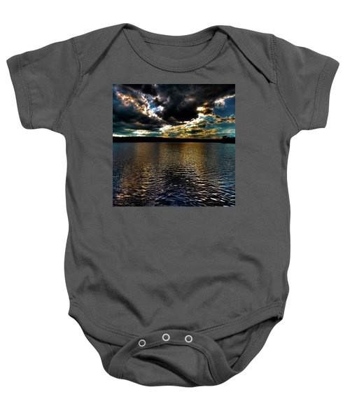 Baby Onesie featuring the photograph June Sunset On Nicks Lake by David Patterson