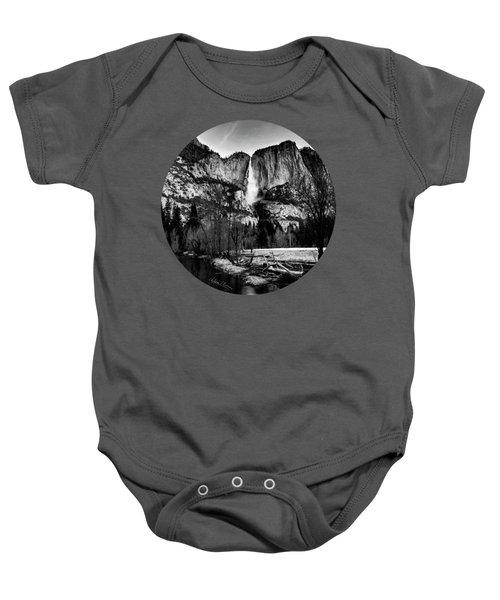 King Of Waterfalls, Black And White Baby Onesie by Adam Morsa