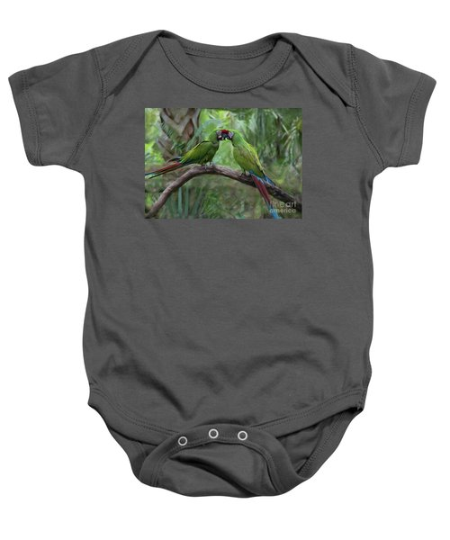 Kissing Macaws Baby Onesie
