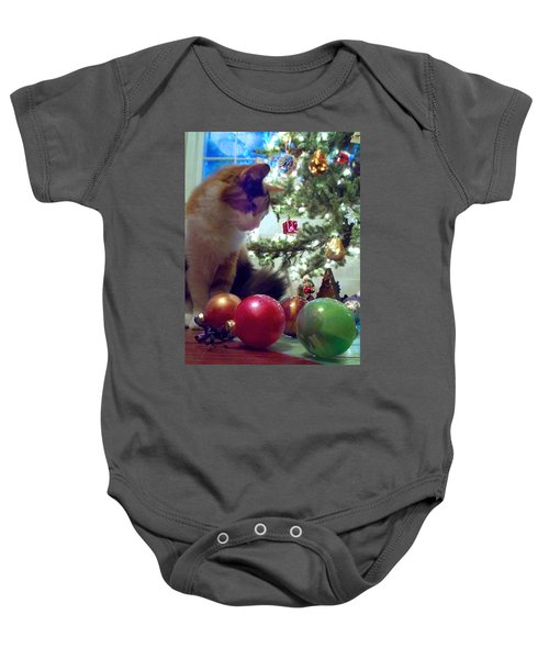 Kitty Helps Decorate The Tree Christmas Card Baby Onesie