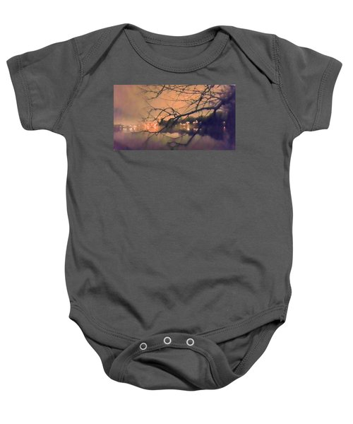 Foggy Lake At Night Through Branches Baby Onesie