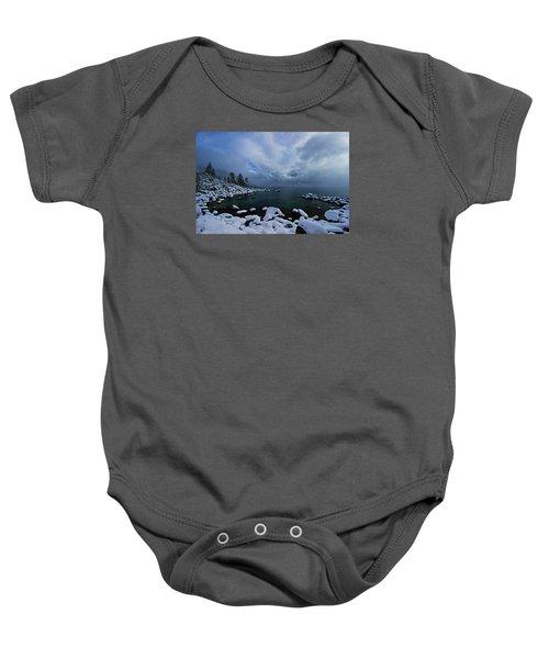 Lake Tahoe Snow Day Baby Onesie