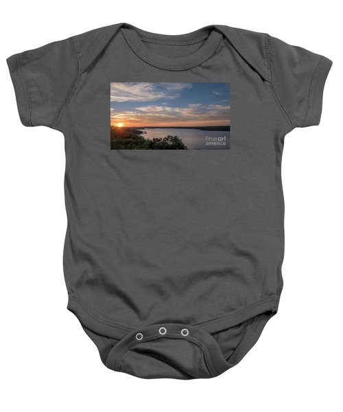 Lake Travis During Sunset With Clouds In The Sky Baby Onesie